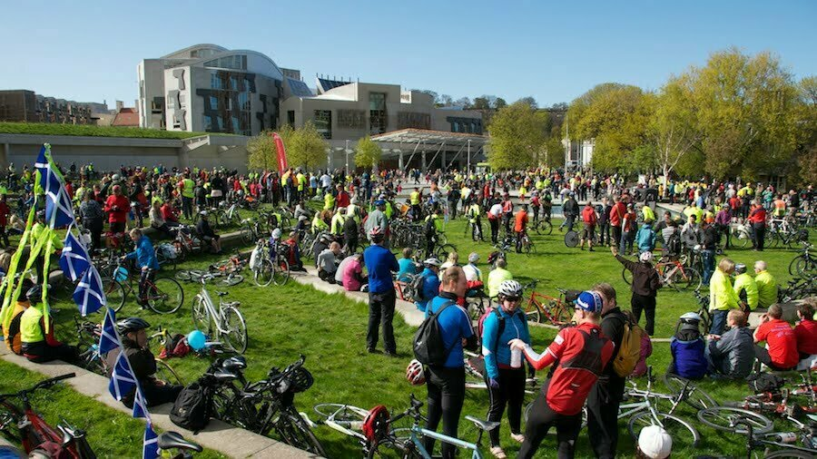 Pedal on Parliament: Massed at Holyrood